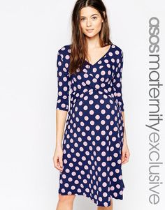 ASOS Maternity | ASOS Maternity Skater Dress With Cross Over In Spot Print at ASOS