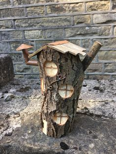Unique Fairy house handmade from tree stump No.6 by CopperPaws