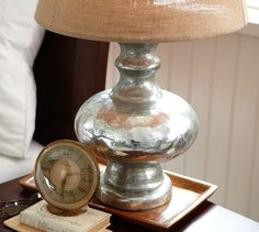 Pottery Barn antique mercury glass lamp. $199-259. Oh yes, we can make this. Looking for DIY's...