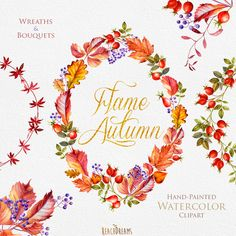 Watercolor Wreaths, Bouquets, Autumn clipart, fall leaves, foliage, leaf, briar, wedding invitation, greeting, diy, instant download by ReachDreams on Etsy