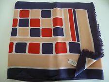 Vintage ST MICHAEL beige navy red  white SILKY RAYON TWILL fringe NECKSCARF