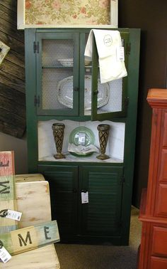 French Country Vintage Rustic Hunter Green & White by ShaBBling, $169.00