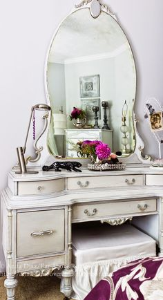 Beautiful furniture makeovers on a budget in French bedroom makeover!