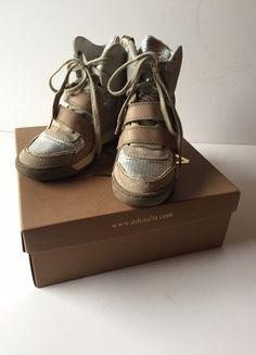 Kaufe meinen Artikel bei #Kleiderkreisel http://www.kleiderkreisel.de/damenschuhe/wedges/137011480-ash-sneaker-wedges-nude-metallic-silber-leder-gr38