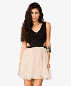 Scuba Knit & Tulle Combo Dress