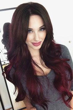 17 Great Ombre Styles for Darker Ombre Hair – Beauty Shares Pelo Color Vino, Dark Ombre Hair, Burgundy Hair Ombre, Reddish Purple Hair, Fuschia Hair, Dark Red Ombre, Ombre Hair Color For Brunettes, Burgundy Balayage, Maroon Hair