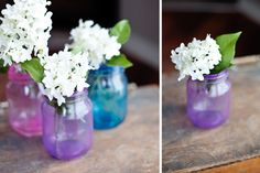 """DIY Tinted Mason Jars - """"Tinted Mason Jars are all the rage right now! Buying them at a store like Pottery Barn can cost you around $25.00. Luckily, you can make your own jars for just a couple of dollars. The best part: they are simple to make and have endless color possibilities!"""""""