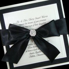Couture Invitation -  Boxed Couture Wedding Invitation -   Formal Wedding  -  Black  -  White  -   Black Tie Wedding  - Set of 100. $960.00, via Etsy.