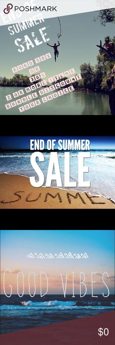 August 1 to September 6 BUY one GET ONE 1/2 OFF Or... 30% BUNDLES 2 or More items, it is your CALL! Other