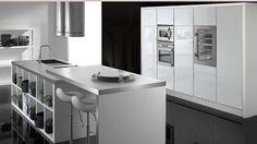 Cocina moderna blanca-acero inox.