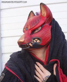 Kitsune mask painted edition 1 by missmonster on DeviantArt Kitsune Maske, Larp, Character Inspiration, Character Design, Wolf Mask, Japanese Mask, Mask Painting, Animal Masks, Masks Art