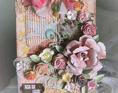Collage altered canvas, birdcage, bird, handmade flowers, frantage, stencil, pearls, vintage, shabby chic, Victorian, jewel charm, roses