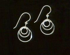 Dangle Silver Earrings Circles Hoop Earrings by WvWorksJewelry
