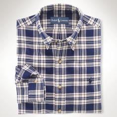 Polo Ralph Lauren Blue Custom Herringbone Workshirt