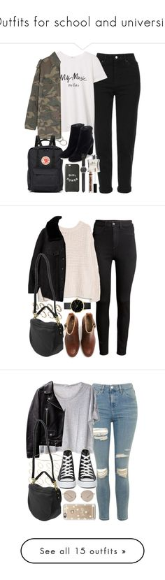 """Outfits for school and university"" by ferned ❤ liked on Polyvore featuring Forever 21, Topshop, MANGO, Yves Saint Laurent, Fjällräven, J.Crew, Laila, NYX, H&M and ALDO"