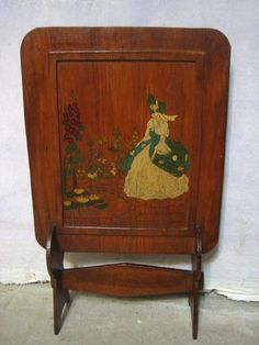 Antique Wood Pine Fireplace Screen Painted Southern Belle Butterfly Garden Scene