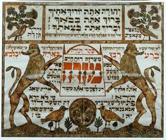 "Mizrach (""East""),a decoration hung on the walls of a home to indicate the direction of prayer, i.e.east towards Jerusalem. From Central Europe. Two Lions of Judah flank the central inscription ""From this direc- tion comes the spirit of life"". Paper, 16 x 14 cm Skirball Museum, Los Angeles, USA"