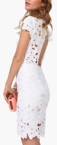White Floral Overlay Dress