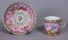 Sevres Chinoiserie pink ground cup and saucer 1777 Painted Porcelain, Hand Painted, Homemade Home Decor, Pink Cups, My Cup Of Tea, Teacups, Chinoiserie, Cup And Saucer, 18th Century