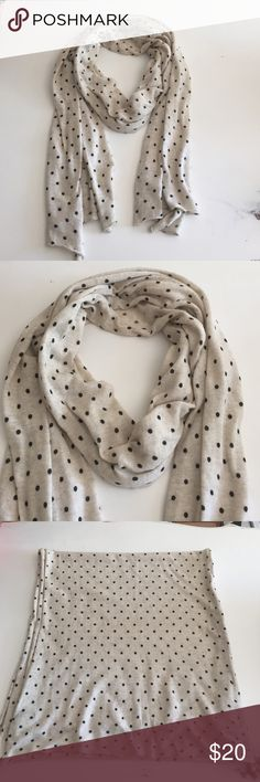 Jcrew dotted scarf Jcrew knit cotton scarf, cream w/black dots, great condition only worn a few times J. Crew Accessories Scarves & Wraps