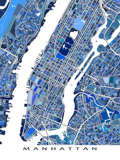 A Manhattan, New York City, New York map art print.  This NYC map has an abstract art design made from lots of little blue shapes. Each shape is actually a city block or a piece of land - and these shapes combine like a puzzle or mosaic to form this Manhattan print.  You can see other things that make Manhattan special including - modern streets (like the Brooklyn Bridge) and water bodies (like the Hudson River and East River). #manhattan #newyork #NYC #map