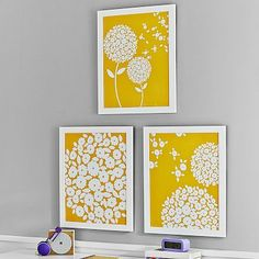 Make with own fabric and white frames - Wishing Willow Artwork, Yellow #pbteen