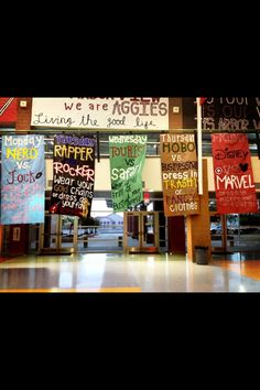 For our dress up days, we hang out signs in the atrium of our school where every student walks by every day. The signs are 12 ft long and 4 ft wide, and hang almost to the floor. {Arbor View High School, Las Vegas} Love how great these look! Spirit Week Themes, Spirit Day Ideas, Spirit Weeks, Homecoming Themes, Homecoming Spirit Week, Homecoming Dresses, Leadership Classes, Student Leadership, Atrium