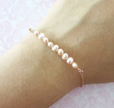 Simple Freshwater Pearls on Rose Gold bracelet - rose gold filled, strand of pink shade pearls, ocean lover beach weddings bridesmaid gifts on Etsy, $20.99 CAD