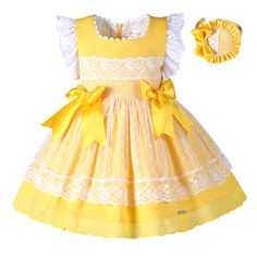 Pettigirl New Girls Easter Dress Summer Yellow Cotton Kids Dress With Headwear Clothes Girls Easter Dresses, Little Dresses, Little Girl Dresses, Girls Dresses, Flower Girl Dresses, Dresses Dresses, Stylish Dresses, Formal Dresses, Vintage Dresses