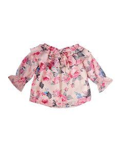 8d7889459fae Ruffle Peasant Top - Pink Floral