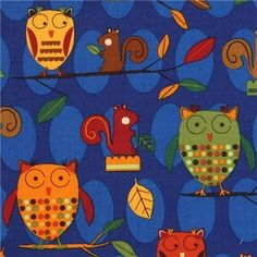 blue owls squirrel fabric Robert Kaufman - fabric