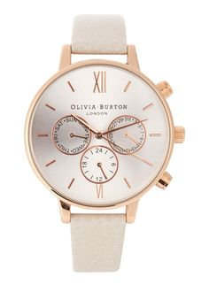 Olivia Burton rose gold plated watch Chronograph, designer stamped face Buckle fastening cream leather strap