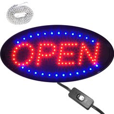 """Bright Animated Oval LED Open Shop Store Business Sign 19x10"""" Display Light neon #Zh"""