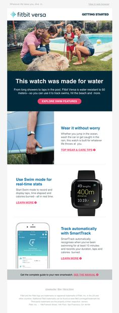 Versa Dive into swim-proof features - Really Good Emails Html Email Design, Email Client, Best Email, Email Templates, Email Marketing, Diving, No Worries, Fitbit, Swimming