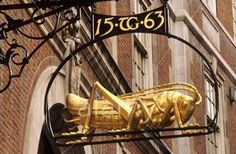 Lombard Street Martins Bank sign grasshopper - London Pub Signs, Shop Signs, Storefront Signs, Lombard Street, Different Signs, London History, Street Lamp, Business Signs, Advertising Signs