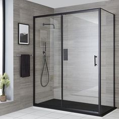 Milano Nero - Recessed Black Sliding Shower Door with Slate Tray - Choice of Sizes Bathroom Shop, Big Bathrooms, Bathroom Ideas, Door Stays, Black Shower, Shower Kits, Shower Screen, Shower Enclosure, Safety Glass