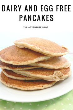 Love pancakes but can't eat them because of dairy or eggs? Try this dairy and egg free version that is nice and hearty and yummy! Egg Free Recipes, Vegan Recipes, Vegan Meals, Vegan Life, Raw Vegan, Egg Free Pancakes, Vegan Pancakes, Dairy Free Cupcakes, Dairy Free Breakfasts
