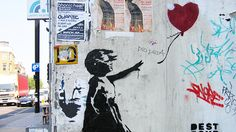 London Street Art guide.  I want to see the 4th Plinth.  ---------  Girl with red balloon by Banksy © silverfox09