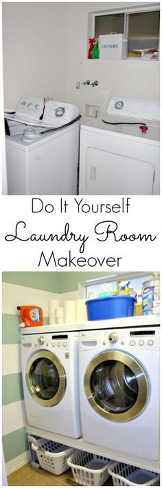 DIY Laundry Room Makeover----shelf under washer/dryer for baskets? Pantry Laundry Room, Laundry Room Storage, Laundry In Bathroom, Small Laundry, Laundry Rooms, Storage Closets, Laundry Baskets, Basement Laundry, Laundry Area