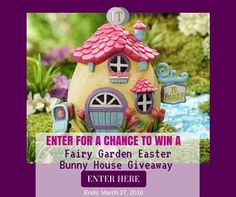 Easter is coming to your Fairy Garden- An Easter Bunny House Giveaway! www.teeliesfairygarden.com Surprise your fairies with their own Easter Bunny house-as you know Easter is one of the favorite holidays for fairies as sweets are their favorite food! All you need are lots of bunnies. #easterfairygarden
