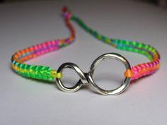 Infinity Bracelet with fluorecent  rainbow nylon