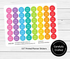 Pay Day Planner Stickers, Rainbow Sticker, Pay, Money, Dollars, Cash, Icon Sticker, Erin Condren, Plum Paper, MAMBI, planner accessory, bill due, money, work, icon stickers, mini, round, planner stickers, planner accessories, planner decor, planner addict, free planner printables, planner organization, sticker organization, eclp, vertical, horizontal, hourly, day designer, emily ley, limelif…
