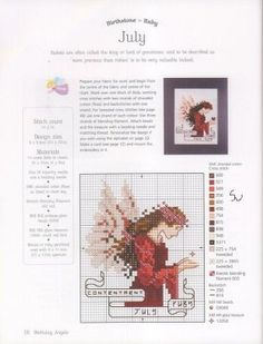 July - Fairy 7 of 12 Fantasy Cross Stitch, Cross Stitch Fairy, Cross Stitch Angels, Just Cross Stitch, Counted Cross Stitch Patterns, Cross Stitch Charts, Cross Stitch Designs, Cross Stitch Embroidery, Stitch And Angel