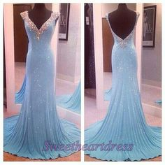 Elegant backless prom dress, ball gown, sparkly blue chiffon long evening dress for prom 2016 #coniefox #2016prom