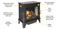 Features for ProCom Vent-Free Dual Fuel Stove — 23,000 BTU, 850 Sq. Ft. Heating Area, Model# PCSD25RT