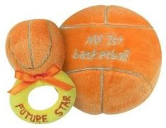 Stephan Baby Sports Fun Ultra Soft Plush My First Basketball and Plush Rattle Ring Set