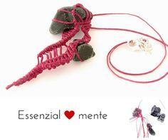 Natural #obsidian #necklace macrame bohemian by morenamacrame
