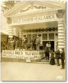 Alaska/Yukon/Pacific 1909:  Expositions were designed to showcase exotic and faraway places and activities. Here Native Americans, cowboys, and miners are part of the entertainment at one of the fair's concession exhibits.