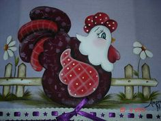 48 Ideas for decor painting on fabric Tole Painting, Fabric Painting, Painting On Wood, Chicken Crafts, Chicken Art, Country Crafts, Country Art, Applique Patterns, Applique Quilts