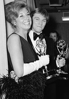 Michael Learned and Richard Thomas with the Emmys they won for Best Actress and Best Actor in a Drama Series for The Waltons (CBS) 20 May 1973.